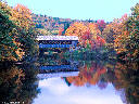 New Hampshire covered bridge in autumn
